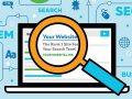 Vektor-Grafik eines Laptops ein Suchergebnis für 'Ihre Website Anzeigen. Eine Lupe schwebt vor dem Laptop-Bildschirm, Vergrößern des Suchergebnisses.